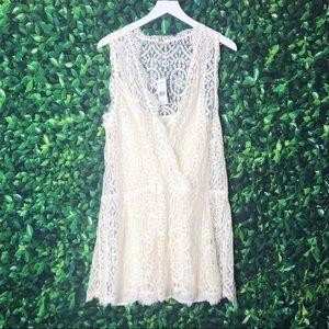 Free People Ivory Lace Mini Dress Sz Lg *see desc